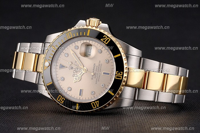 Swiss Rolex Submariner Gold Dial With Diamond Markings Black Bezel Yellow Gold Case And Bracelet Replica Review