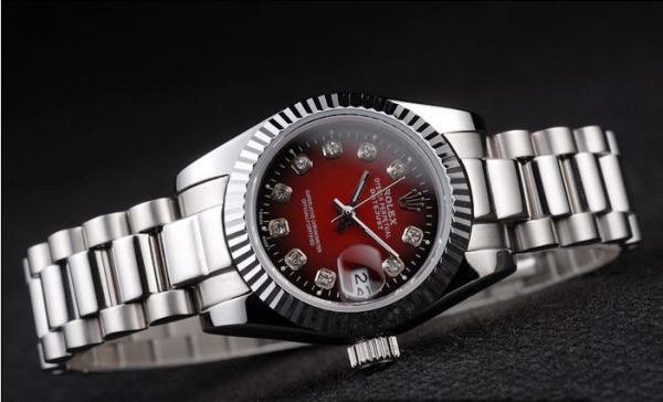 Rolex Day-Date Polished Stainless Steel Two Tone Red Dial Replica AAA Review